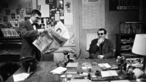 Chabrol and Godard at Cahiers du cinema